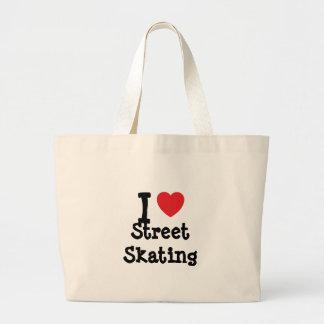 J'aime la coutume de patinage de coeur de rue pers sac en toile