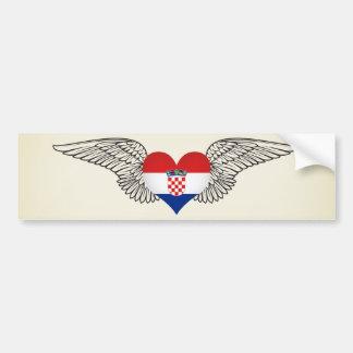 J'aime la Croatie - ailes Autocollant Pour Voiture