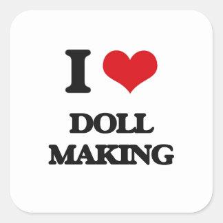 J'aime la fabrication de poupée sticker carré