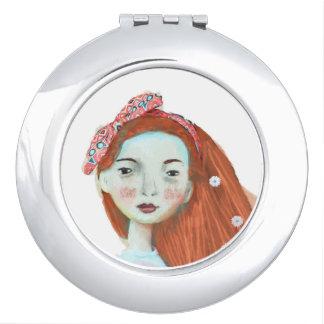 J'aime la fille principale rouge de miroir compact