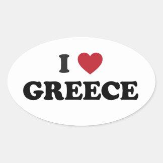 J'aime la Grèce Sticker Ovale