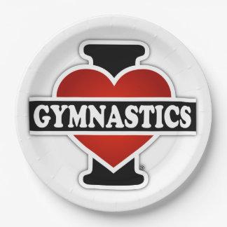 J'aime la gymnastique assiettes en papier
