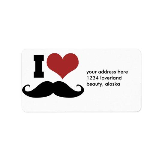 J'aime la moustache étiquette d'adresse