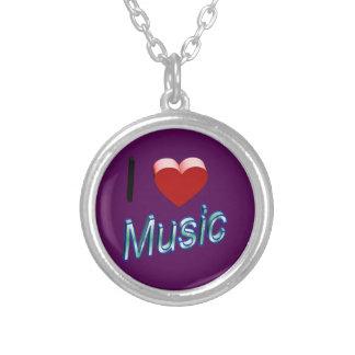 J'aime la musique 2 pendentif rond