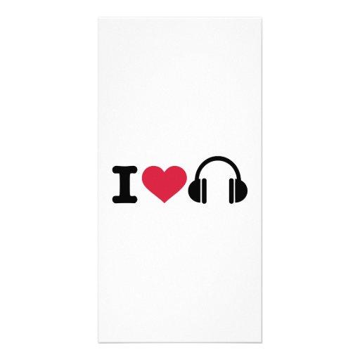 J'aime la musique d'écouteurs cartes de vœux avec photo
