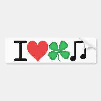 J'aime la musique irlandaise autocollant de voiture