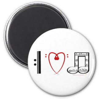 J'aime la musique (les notes de coeur d'I) Magnet Rond 8 Cm