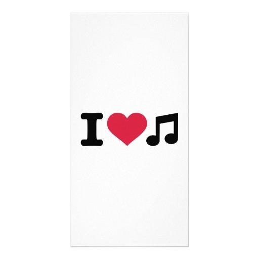 J'aime la note de musique photocartes