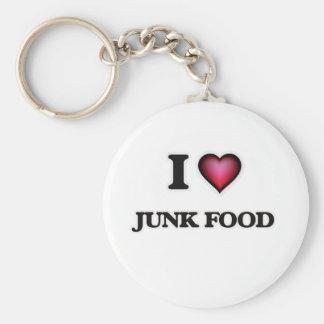 J'aime la nourriture industrielle porte-clé rond