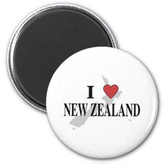 J'aime la Nouvelle Zélande Magnet Rond 8 Cm