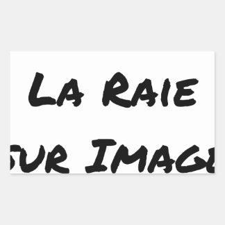 J'aime la Raie sur Image - Jeux de Mots Sticker Rectangulaire