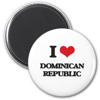 J'aime la République Dominicaine Magnet Rond 8 Cm