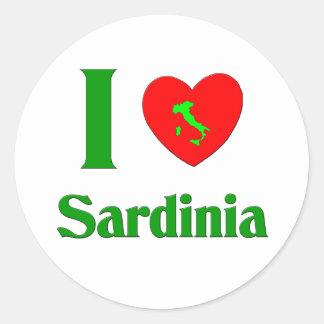 J'aime la Sardaigne Italie Autocollant Rond