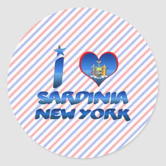 J'aime la Sardaigne, New York Adhésif Rond