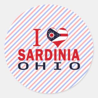 J'aime la Sardaigne, Ohio Autocollants Ronds