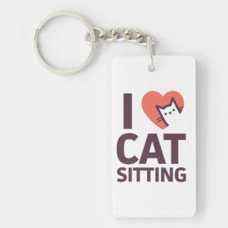 J'aime la séance de chat porte-clefs
