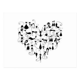 j'aime la silhouette de chats noirs carte postale