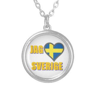 J'aime la Suède (pointe Älskar Sverige) Pendentif Rond
