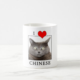 """""""J'aime"""" la tasse de café chinoise de chat"""