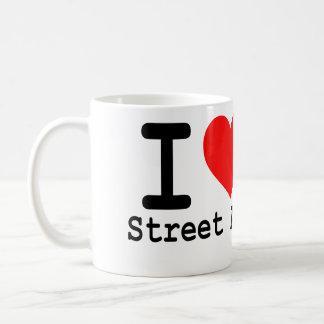 J'aime la tasse de café d'art de rue