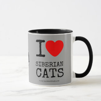 J'aime la tasse de café sibérienne de chats