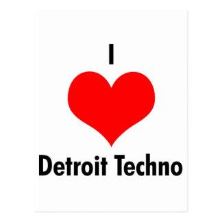 J'aime la techno de Detroit Carte Postale