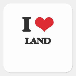 J'aime la terre autocollant carré