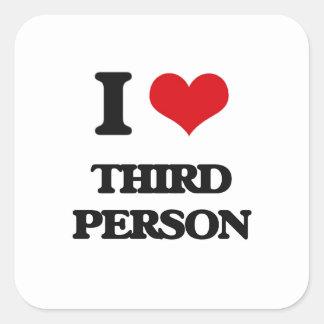 J'aime la troisième personne sticker carré