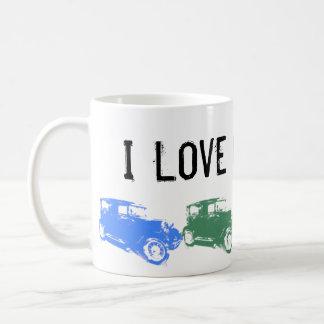 J'aime la vieille tasse de café de voitures