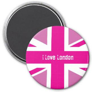 J'aime l'aimant rose de Londres Union Jack Magnet Rond 7,50 Cm