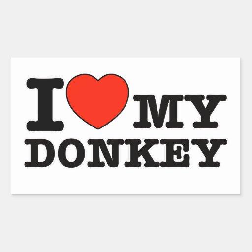 J'aime l'âne autocollants rectangulaires