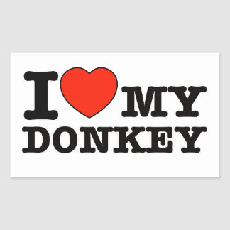 J'aime l'âne sticker rectangulaire