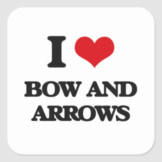 J'aime l'arc et les flèches sticker carré