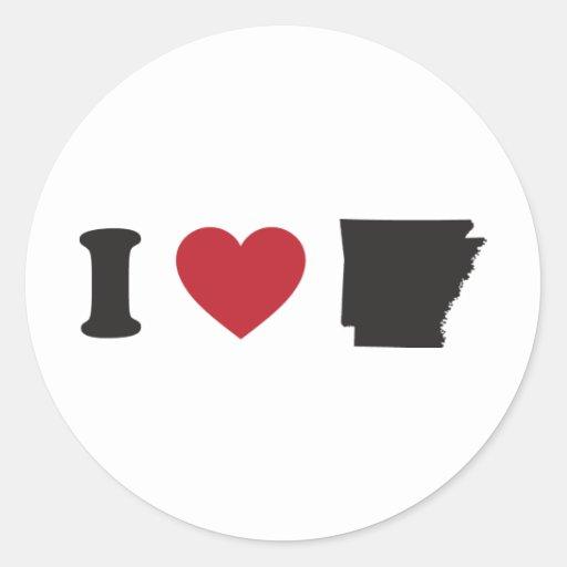 J'aime l'Arkansas Autocollants Ronds