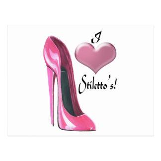 J'aime l'art stylet de chaussure de talon haut cartes postales