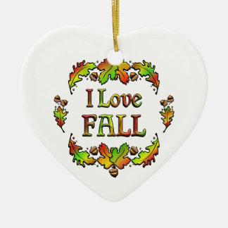 J'aime l'automne ornement cœur en céramique