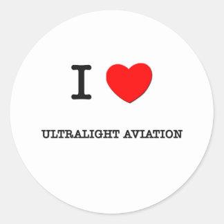 J'aime l'aviation ultra-légère autocollants ronds