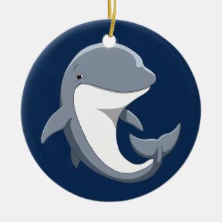 J'aime le Bottlenose mignon de dauphins Ornement Rond En Céramique