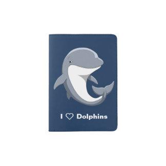 J'aime le Bottlenose mignon de dauphins Protège-passeport