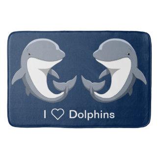 J'aime le Bottlenose mignon de dauphins Tapis De Bain