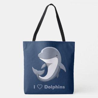 J'aime le Bottlenose mignon de dauphins Tote Bag