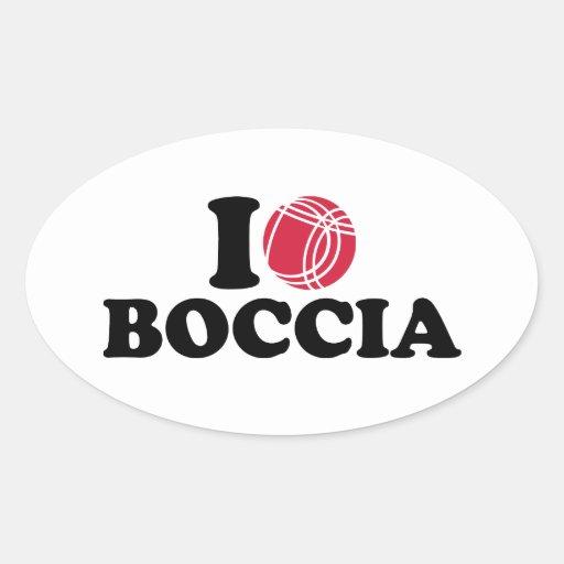 J'aime le Boule de Boccia Autocollant Ovale