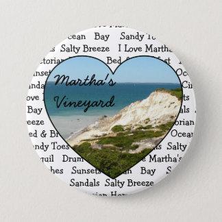 J'aime le bouton de coeur de Martha's Vineyard Pin's