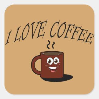 J'aime le café sticker carré
