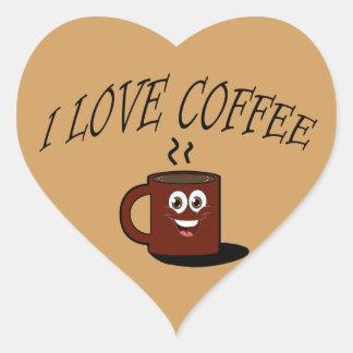 J'aime le café sticker cœur