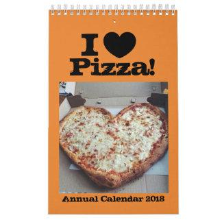 J'aime le calendrier annuel 2018 de pizza