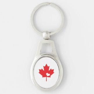 J'aime le Canada - coeur canadien de feuille Porte-clé Ovale Argenté