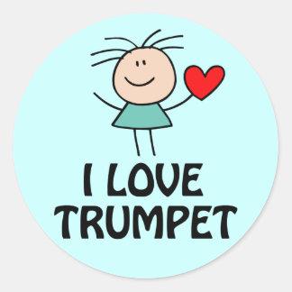 J'aime le chiffre cadeau de bâton de trompette de sticker rond