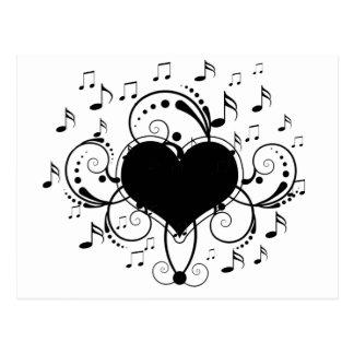 J'aime le coeur de notes de musique noir et blanc cartes postales