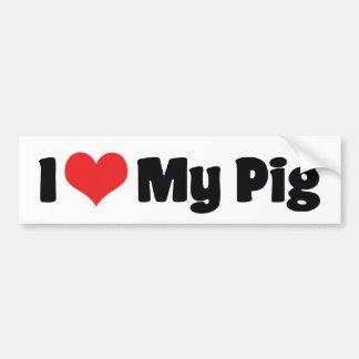 J'aime le coeur mon porc autocollant de voiture